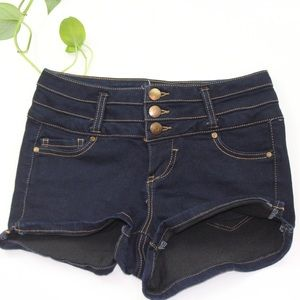Pants - Dark blue shorts with three buttons